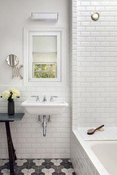 floor, subway tile, wall sink