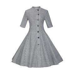 Plaid Buttoned Swing Dress (BLACK,S) in Vintage Dresses | DressLily.com