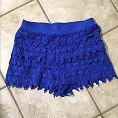 NWOT Express royal blue crochet shorts Super cute! Bright Royal blue crochet with elasticized waist! Express Shorts