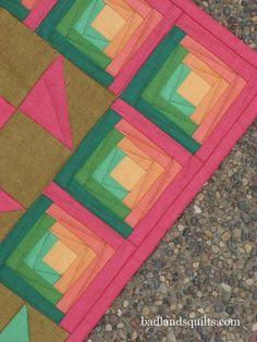 Modern Log cabin....love colors and quilting.  badlandsquilts, via Flickr