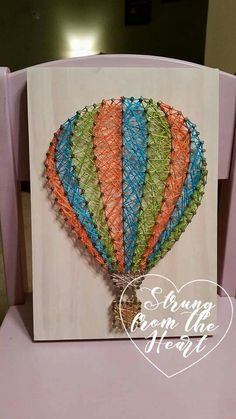 Striped Hot Air Balloon String art sign by Strung from the Heart