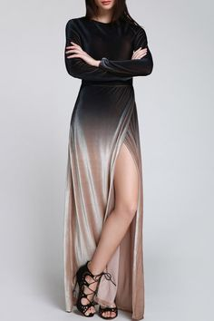 "thelosersshoppingguide: "" Long Sleeve Gradient Maxi Dress """