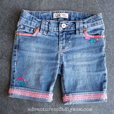 Adventures of a DIY Mom - Cuffed Shorts with Ribbon and Buttons - Cut off Jean Shorts Series