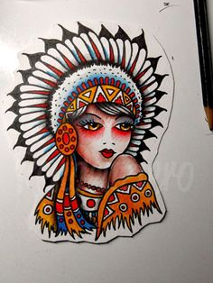 Traditional Tattoo Flash Native American Girl Watercolor