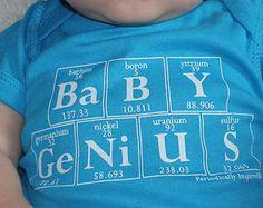 Periodic Table Onesie -  BABY GENIUS - The Original Baby Genius - Brilliant Baby Gift (Turquoise)