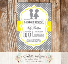 Boy Girl Silhouette Baby Shower Gender Reveal Birthday Invitation
