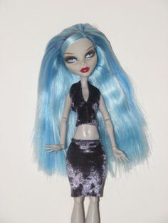 Monster High Fashion Smoke Grey Top and Skirt Outfit by rosdolls, $6.00