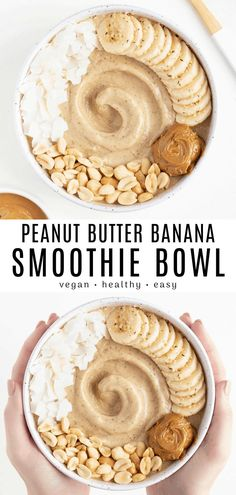 This peanut butter banana smoothie bowl recipe is healthy easy and packed with protein! Made with 5 ingredients and no yogurt needed. Combine bananas peanut butter flaxseed vanilla and almond milk to make this breakfast. Peanut Butter Breakfast, Peanut Butter Banana, Healthy Peanut Butter Smoothie, Healthy Vegan Breakfast, Healthy Breakfasts, Healthy Snacks, Vegan Smoothies, Easy Smoothies, Green Smoothies