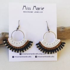 Macrame Rings, Macrame Necklace, Macrame Jewelry, Earrings Handmade, Handmade Jewelry, Handmade Items, Shops, Evil Eye Ring, Love Bracelets