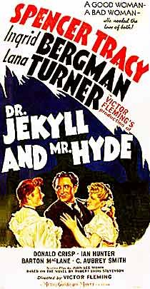 Jekyll and Mr. Hyde is a 1941 horror film starring Spencer Tracy, Ingrid Bergman and Lana Turner. Old Movie Posters, Classic Movie Posters, Classic Horror Movies, Horror Movie Posters, Cinema Posters, Classic Films, Scary Movies, Old Movies, Vintage Movies