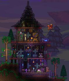 Terraria House Design, Terraria House Ideas, Terraria Tips, Minecraft Creations, Minecraft Projects, Minecraft Bedroom, Minecraft Houses, Minecraft Posters, Go Game