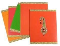 Red Color, Shimmery Finish Paper, Hindu Cards, Designer Multifaith Invitations, Card with Rhinestones. Scroll Wedding Invitations, Wedding Party Invites, Hindu Wedding Cards, Marriage Cards, Invitation Kits, Red Color, Cool Things To Buy, Wedding Decorations, Paper