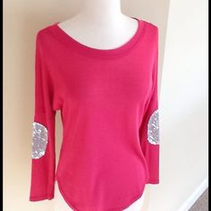 "Sequined Pink Top - NEW! Sequins at elbow area. New! I ordered online and this does not have a sales tag. Never worn. Runs small. Size small. Thinner material, you'd want to wear a tank top or camisole underneath. Measurements underarm to under arm is 18 1/2"" so about 36"". Fits XSmall or small sizes. Length is 23"" but is a little longer in the middle due to style of shirt. Tops"