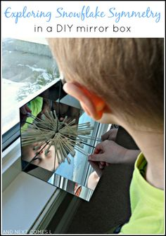 Exploring Symmetry with Snowflakes in a DIY Mirror Box {Light & Reflections Series} Exploring symmetry with snow flakes in a DIY mirror box: simple math exploration for toddlers and preschoolers from And Next Comes L Symmetry Math, Symmetry Activities, Winter Activities, Preschool Activities, Preschool Class, Preschool Christmas, Mirror Box, Diy Mirror, Mirror House