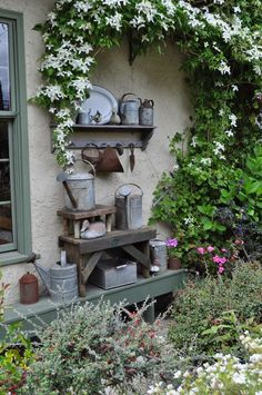 Zinc Display - using collected pieces of zinc to decorate a porch or patio - via The Wemelaer