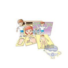 Esquema Corporal, Esquema Corporal Simque Brinquedos, Brinquedos Educativos, Partes do Corpo em Madeira, Brinquedos com as partes do corpo em madeira