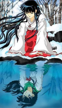 Kagome and Kikyo....2 different people....look almost the same....have almost the same souls...and love the same guy