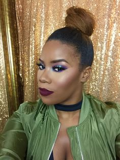 Bold makeup, makeup for women of color, wine lipstick