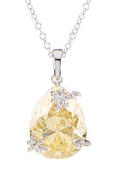 Pear Shape Canary & White CZ Pendant Necklace on @HauteLook
