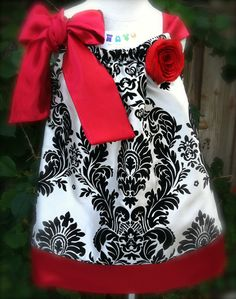 Red Damask Pillowcase Dress