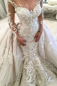 Sweetheart neckline long sleeves heavy embellishment mermaid wedding dress wedding gown Beautiful Wedding Dresses Would Look Glamorous On All Sorts Of Brides-To-Be Making A Wedding Dress, Lace Wedding Dress, Luxury Wedding Dress, Sexy Wedding Dresses, Long Sleeve Wedding, Princess Wedding Dresses, Bridal Dresses, Wedding Gowns, Elegant Dresses
