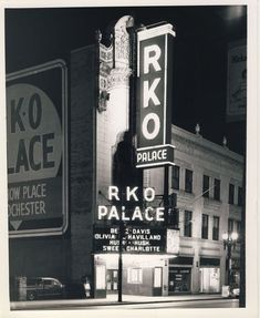 Rochester's RKO Palace Theater prior to demolition. Main entrance on Clinton Ave. The theater originally opened on December 1928 as Hush Hush Sweet Charlotte, Rochester New York, Moving To Florida, Main Entrance, Urban Planning, Movie Theater, Back In The Day, Main Street, Old Photos