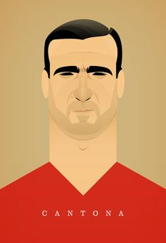 Stanley Chow Illustration of Manchester England : Photo Art Football, Soccer Art, Retro Football, Football Design, Stanley Chow, Eric Cantona, Wakeboard, Celebrity Caricatures, Manchester United Football