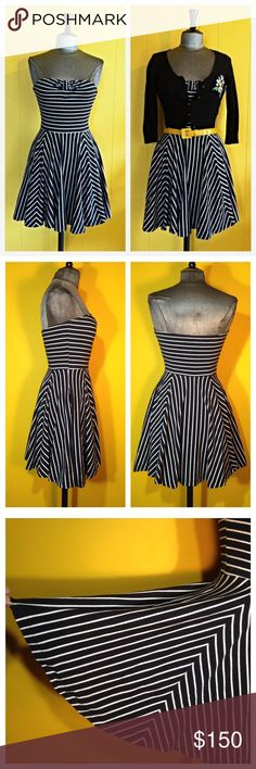 "Betsey Johnson strapless Dress with pockets This easy, fun dress will help flaunt your curves or help to give you some. A great piece to beat the heat in that also works layered in the Fall. Washes in the machine.  FEATURES Pockets at hips. Full circle skirt. Hard to wrinkle, great for travel. Machine washable. Waist hits higher at 'natural waist'   MEASUREMENTS (lots of stretch) Bust 29-39"" Waist 24-29"" Hips open Length (top of tube top to bottom) 27""  CONTENT 92% Cotton 8% Spandex Made in…"