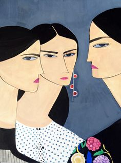 gouache painting depicting three women wearing looks from the JW Anderson resort 2016 collection. Sheila E, Portrait Illustration, Gouache Painting, Illustrations And Posters, Figurative Art, Art Blog, Art Inspo, Illustrators, Art Drawings