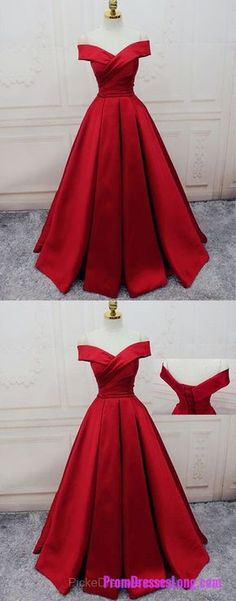 Red Prom Dresses Off-the-shoulder, Ball Gown Party Dresses Satin, Sweep Train Sashes / Ribbons Formal Dresses Gorgeous PD20191520