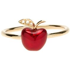 Alison Lou red apple stack ring ❤ liked on Polyvore featuring jewelry, rings, stackable rings, red ring, red jewelry, stacking rings jewelry and alison lou