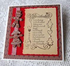 Stempel med pepperkakeoppskrift på gulnet papir fra en gammel bok Christmas Craft Projects, Crafts To Make, Cards, Playing Cards, Maps