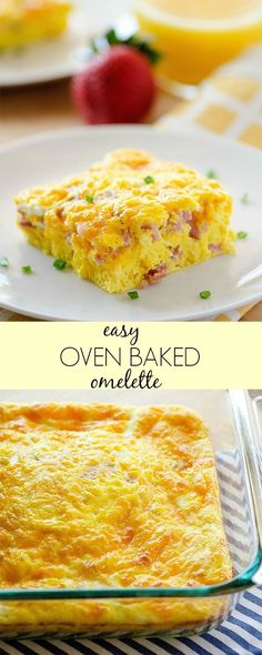 I LOVE eating Omelettes for breakfast, but I don't particulary love the time it takes making individual ones. That's when I make this baked version that feeds my whole family! This baked omelette c (Christmas Recipes Breakfast) Ham And Cheese Omelette, Baked Omelette, Easy Omelette Recipe, Omelette Muffins, Healthy Omelette, Breakfast Items, Breakfast Dishes, Breakfast Recipes, Breakfast Omelette