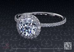 Micro pave halo engagement ring with one carat diamond style 811 by Leon Megé