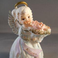 Lefton August Birthday Angel Figurine #3332