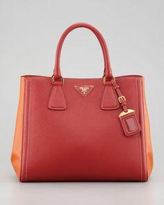 Prada Saffiano Bicolor Tote Bag, - Neiman Marcus or in beige/white.