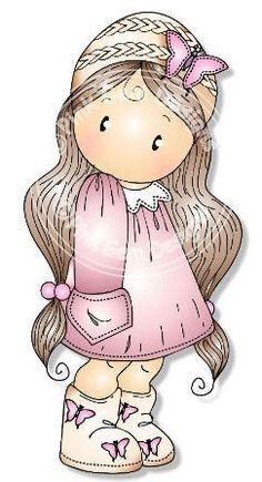 Digital Digi Stamp Chloe in Knitted Hat- Birthday, Mothers Day