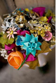 Eco Bouquets... bouquets made from vintage (or new) flower pins and jewelry!