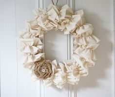 Muslin Ruffle wreath with burlap rosette