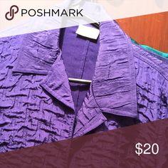 Chicos puffed silk brilliant blue purple Chicos puffed silk purplish blue Chico's Jackets & Coats Blazers