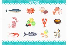 Seafood Set Design Flat Fish @creativework247
