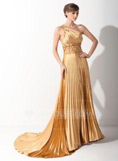 Prom Dresses - $136.99 - A-Line/Princess One-Shoulder Court Train Tulle Charmeuse Prom Dress With Ruffle Appliques (018015060) http://jjshouse.com/A-Line/Princess-One-Shoulder-Court-Train-Tulle-Charmeuse-Prom-Dress-With-Ruffle-Appliques-018015060-g15060?size=06&utm_term=15060&gclid=CPiKpI6mhrwCFYlDMgodp30AVg
