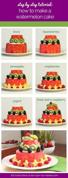 A DIY tutorial for making a watermelon cake. Use an almond or coconut-based yogurt to make it vegan, and decorate with whatever fruits you like!
