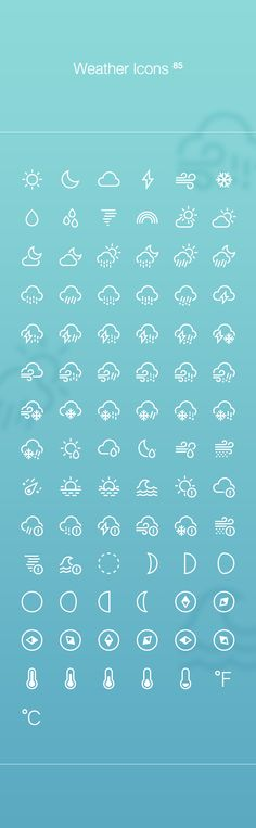 Weather icons by heeyeun jeong, via Behance
