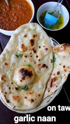 garlic naan recipe | homemade garlic naan recipe without yeast – with detailed photo and video recipe. an extremely popular indian flatbread recipe made with plain flour and garlic. it is humungously popular across india and also all over the globe, mainly because of the flavour and taste. the bread tastes amazingly well with the choice of north indian or punjabi curries and can be easily served for lunch and dinner. Spicy Recipes, Cooking Recipes, Curry Recipes, Cooking Games, Slow Cooking, Easy Recipes, Salad Recipes, Chaat Recipe, Indian Recipes
