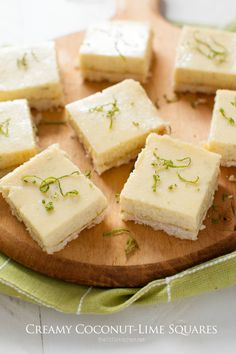 Creamy Coconut-Lime Squares - The Little Kitchen Easy Family Meals, Quick Easy Meals, Family Recipes, Lime Squares Recipes, Delicious Desserts, Dessert Recipes, Baker Recipes, Kitchen Recipes, Dessert Bars