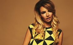 Download wallpapers Nadine Coyle, British singer, 4k, photoshoot, portrait, yellow black dress, Girls Aloud