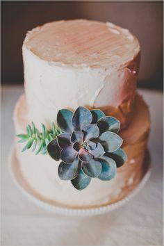 Simple succulent accented wedding cake. Captured By: Elyse Hall Photography http://www.weddingchicks.com/2014/06/02/desert-wedding/