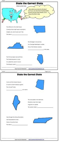 Check out our 50 states worksheets page to see if you can solve these clever state rhyming riddles?