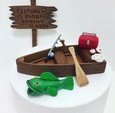 Trendy Birthday Cupcakes For Dad Fondant Ideas Fondant Cake Toppers, Fondant Cupcakes, Cupcake Toppers, Dad Birthday, Birthday Cupcakes, Birthday Ideas, Birthday Cards, Fishing Cupcakes, Fishing Theme Cake